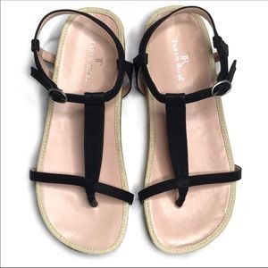 Taryn Rose Amore Black Cork Sole Thong Sandals